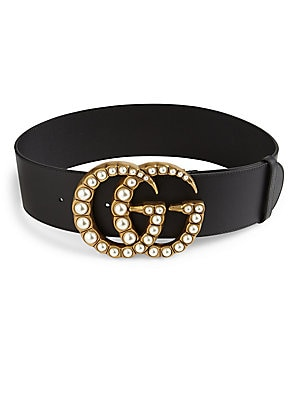 Pearly Gg Buckle Wide Leather Belt by Gucci