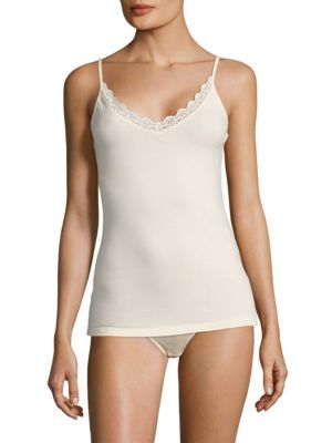 Image of Cotton-blend cami elevated with graceful lace trim. Adjustable spaghetti straps. Scalloped V-neck. Cotton/elastane/polyamide. Machine wash. Made in Austria.