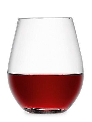"""Image of Modern and elegant stemless red wine glasses Set of 4 Height, 4.5"""" Glass Hand wash Imported. Gifts - Barware > Saks Fifth Avenue. LSA."""