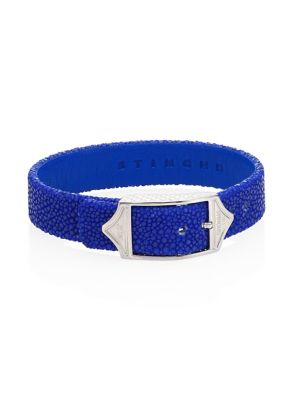 STINGHD Luxe Pure Silver & Stingray Leather Buckled Bracelet in Cobalt