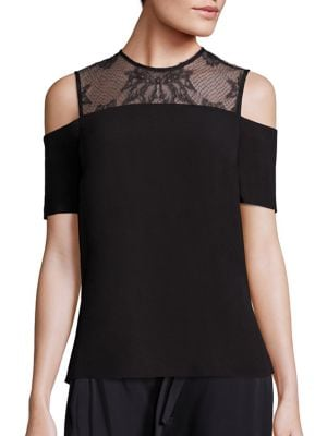 Glyn Lace Yoke Cold-Shoulder Top by A.L.C.