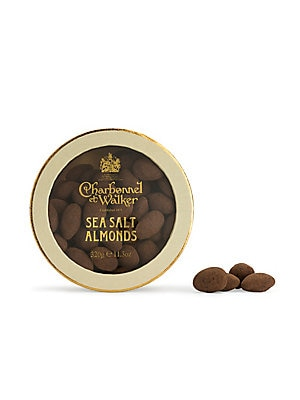 Image of Almonds coated in milk chocolate with an Anglesey sea salt and cocoa powder dusting Approximately 80 pieces Ingredients: milk chocolate, almonds, Anglesey sea salt and alkali processed cocoa Ready to eat 11.3 oz. Serves 2 - 8 Shelf life: 182 days Made in