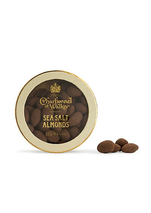 Image of Almonds coated in milk chocolate with an Anglesey sea salt and cocoa powder dusting. Approximately 80 pieces. Ingredients: milk chocolate, almonds, Anglesey sea salt and alkali processed cocoa. Ready to eat.11.3 oz. Serves 2 - 8.Shelf life: 182 days. Made