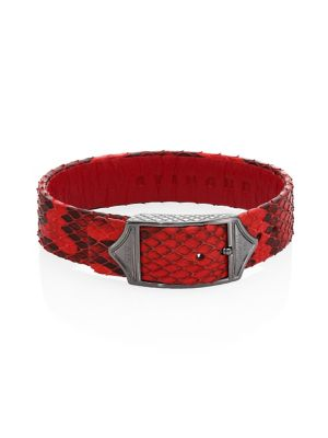 STINGHD Luxe Platinum-Plated Pure Silver & Python Leather Buckled Bracelet in Red