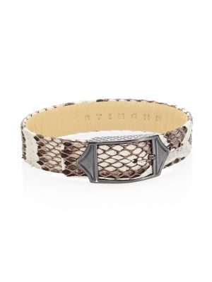 STINGHD Luxe Platinum-Plated Pure Silver & Python Leather Buckled Bracelet in White