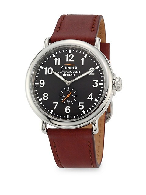 Runwell Chronograph Stainless Steel Leather Strap Watch