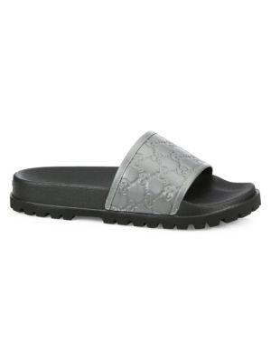 71ac23632 Gucci Signature Slide Sandal In Grey | ModeSens