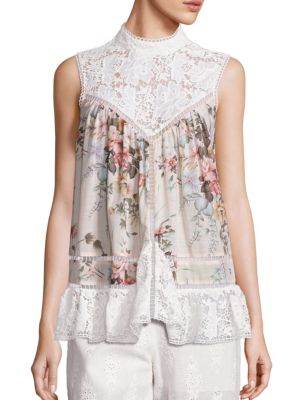 Laced Aerial Smock Top by Zimmermann
