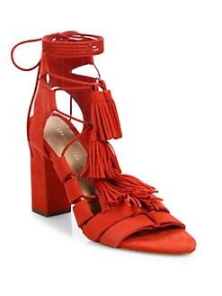 5c9ab8117b1 Loeffler Randall Luz Tassel Suede Ankle-Tie Block Heel Sandals from ...