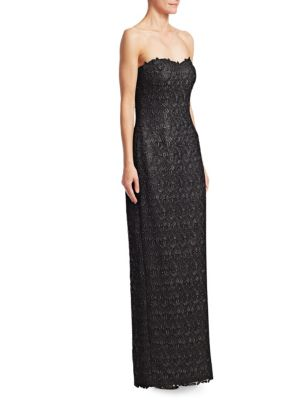 HELEN MORLEY Roma Beaded Lace Column Gown in Black