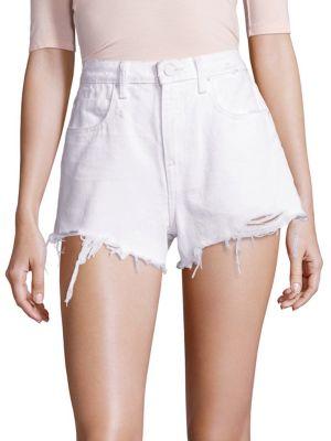 Bite Distressed Denim Cutoff Shorts, White