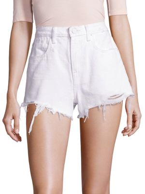 """Image of High-rise denim shorts with trend-right frayed hem. Belt loops. ZIp fly with button closure. Five-pocket style. Frayed hem. Rise, about 11"""".Inseam, about 3"""".Cotton. Dry clean. Made in USA of imported fabric. Model shown is 5'10"""" (177cm) wearing US size 4."""