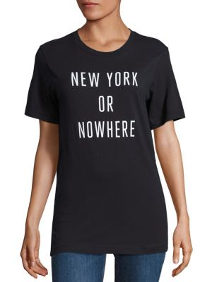 KNOWLITA New York Or Nowhere Cotton Graphic Tee in Black White