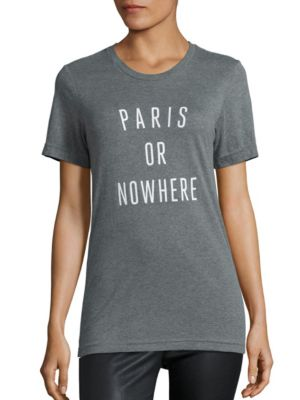 KNOWLITA Paris Or Nowhere Heathered Graphic Tee in Grey White