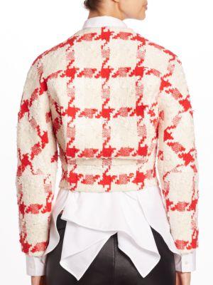 ALEXANDER MCQUEEN Silks Cropped Houndstooth Tweed Jacket