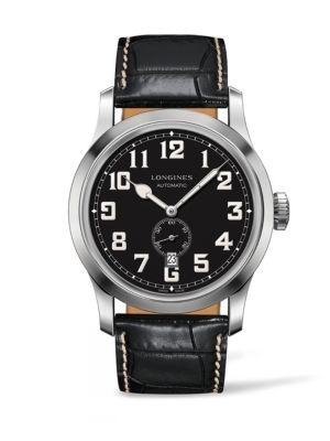 LONGINES Heritage Automatic Military Leather Strap Watch, 44Mm in Black/ Silver