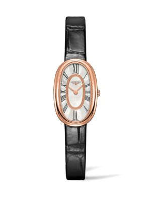 longines embossed leather strap watch
