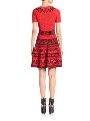 ALEXANDER MCQUEEN Knits Floral Jacquard Knit Fit-&-Flare Dress