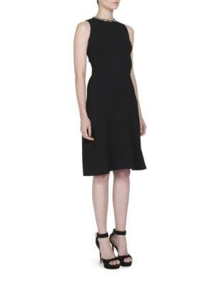 Chain Neck-Detail Sleeveless Dress