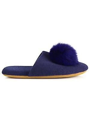 44a825b1523 Minnie Rose - Cashmere   Fox Fur Pom-Pom Slides - saks.com