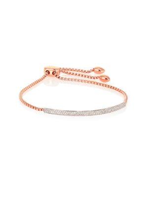 Fiji Champagne Diamond Mini Bar Bracelet, Rose Gold