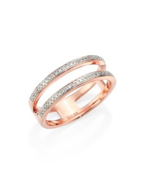 Skinny Double Band Rose Gold-Plated Diamond Ring