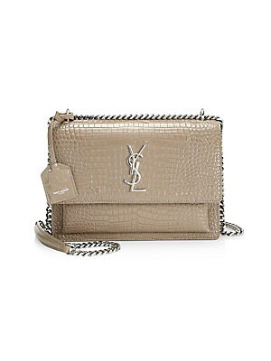 4796e485602 Saint Laurent - Medium Sunset Monogram Croc-Embossed Leather Chain Shoulder  Bag - saks.com
