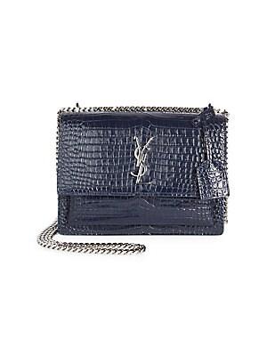 809d6dc15397 Saint Laurent - Medium Sunset Monogram Croc-Embossed Leather Chain Shoulder  Bag
