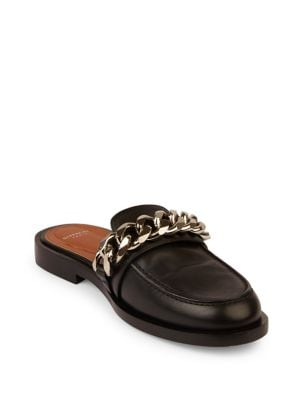 Image of Chain Leather Loafer Slides