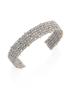 Crystal Lace Cuff Bracelet in Silver