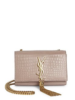 07fd7b94e15f SAINT LAURENT Small Kate Monogram Tassel Croc-Embossed Leather Chain  Shoulder Bag