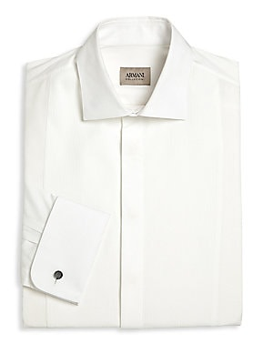 Image of Classic staple fashioned with textured stripes Spread collar Concealed front button closure Long sleeves with buttoned cuffs Cotton Dry clean Imported. Men Luxury Coll - Formal Accessories. Armani Collezioni. Color: White. Size: 16.