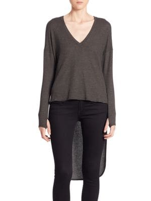 Zelie High-Low V-Neck Pullover by Feel The Piece