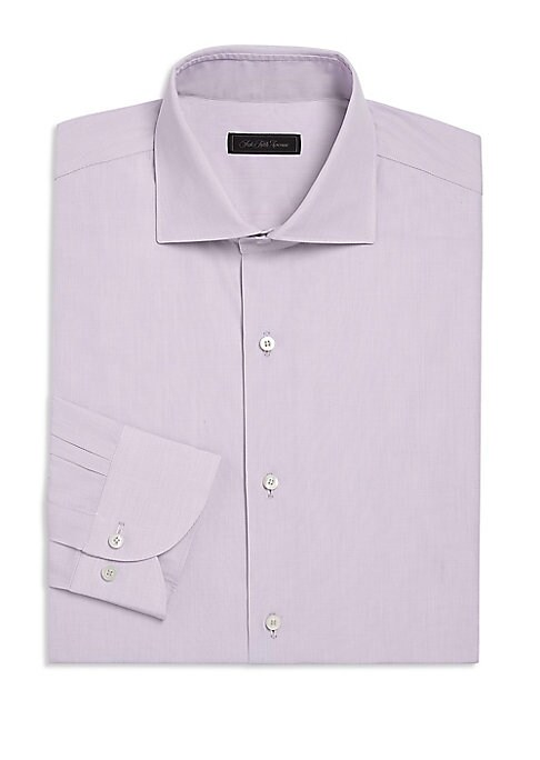"""Image of EXCLUSIVELY OURS. On-trend button-down shirt cut from cotton fabric. Spread collar. Long sleeves. Button front. Button barrel cuffs. Shirttail hem. Cotton. Dry clean. Made in Italy. SIZE & FIT. About 28"""" from shoulder to hem."""