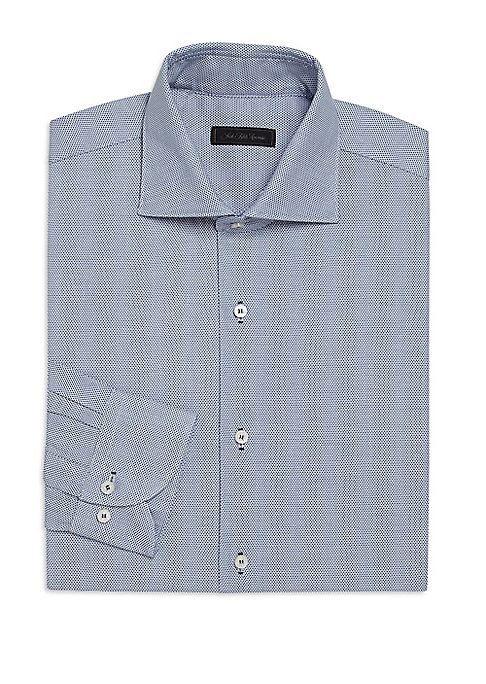Image of EXCLUSIVELY OURS. Sublime bird's eye pattern highlights this dress shirt. Spread collar. Button front. Long sleeves with buttoned barrel cuffs. Cotton. Dry clean. Made in Italy.