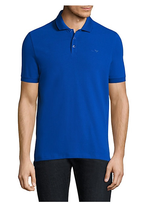 Image of Essential stretch-cotton polo with embroidered logo. Polo collar. Short sleeves. Button placket. Cotton/elastane. Machine wash. Imported.