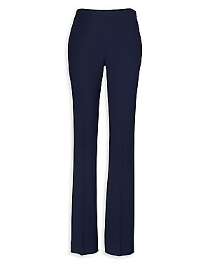 """Image of From the Iconic Collection Modern slim-fit wool pant with timeless tailoring Concealed side zip with hook-and-eye closure Back waist darts Rise, about 10.75"""" Inseam, about 35"""" Leg opening, about 17"""" Wool/elastane Dry clean Made in USA of imported fabric M"""