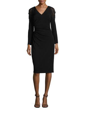 Lace-Trim Cold-Shoulder Dress by David Meister