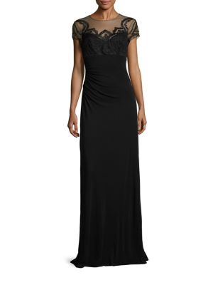 Lace Applique Illusion Gown by David Meister
