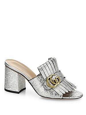 34da0315147977 Gucci - Marmont GG Kiltie Metallic Leather Block Heel Mules - saks.com