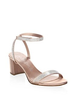 da6d5a3f4 Evening. Pedro Garcia - Xela Swarovski Crystal Silk Satin Block Heel Sandals