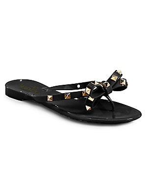 7e516c076292 Valentino Garavani - Rockstud Bow Jelly Thong Sandals - saks.com