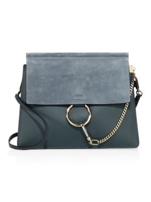 Faye Medium Leather & Suede Shoulder Bag, Cloudy Blue