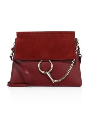 Faye Medium Leather & Suede Shoulder Bag, Plum, Plum Purple