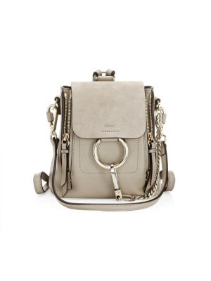 Faye Mini Leather And Suede Backpack in Grey