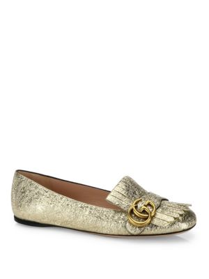Marmont Gg Metallic Leather Kiltie Flats by Gucci