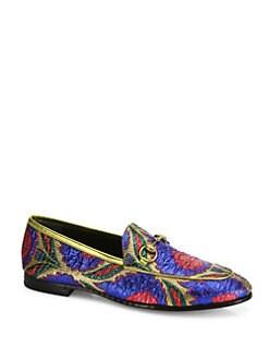 b8707de7315 Gucci. Jordaan Lurex Floral Brocade Loafers