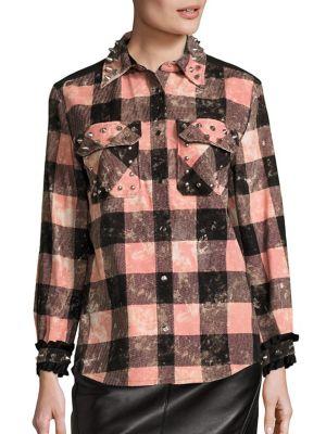 Studded Plaid Shirt by COACH