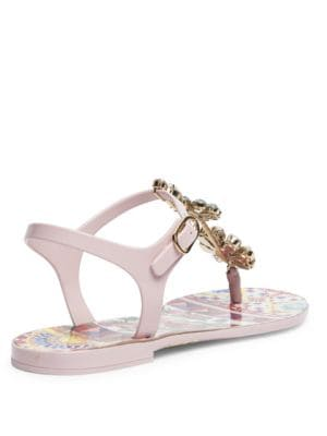 DOLCE & GABBANA Crystals Carretto Jeweled T-Strap Sandals