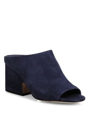 "Image of Suede open-toe mule set on architectural block heel. Self-covered block heel, 2"" (50mm).Suede upper. Open toe. Slip-on style. Microfiber lining. Leather sole. Padded insole. Made in Italy."